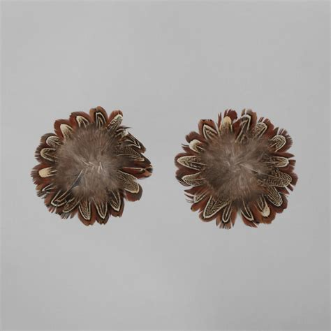 Flower 2pcs Set brown feathers flower base approx 12cm 2pcs set