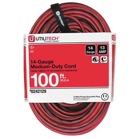 100 ft 14 outdoor extension cord shop utilitech 100 ft 13 125 volts 14 3 sjtw