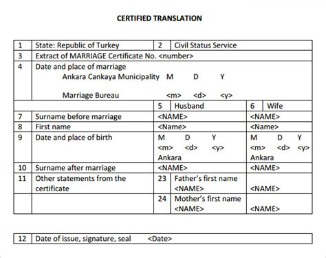 marriage certificate translation template sle marriage certificate template 18 documents in