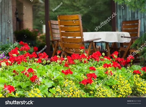 german garden furniture typical german garden with wooden garden furniture stock