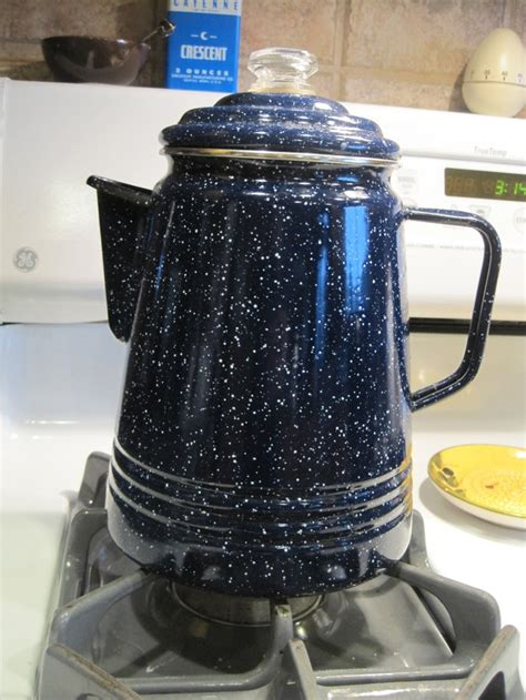 Vintage Blue Speckled Enamel Stove top Coffee Percolator
