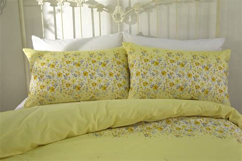 Quality Bedding Sets Uk Yellow Quality Cotton Mix Megan Floral Duvet Cover Set Single King Size Ebay