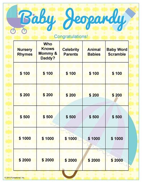 free printable bridal shower jeopardy game baby shower jeopardy questions baby shower pinterest