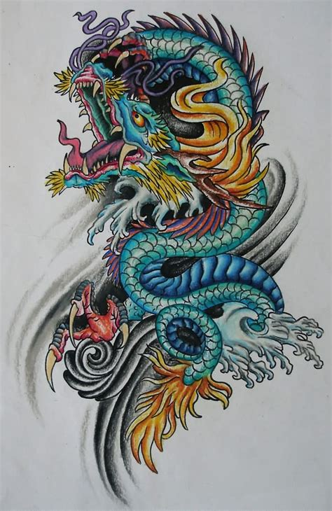 oriental dragon tattoo designs colorful traditional design