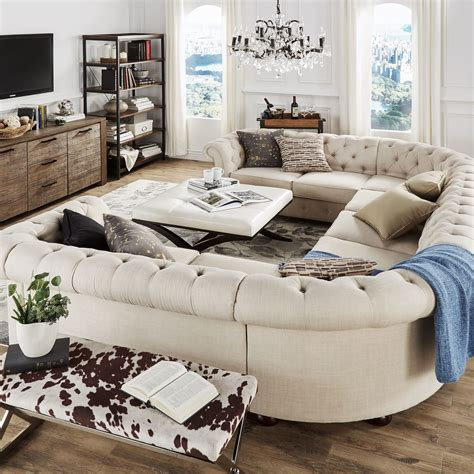 sofa u sectional knightsbridge tufted scroll arm chesterfield 9 seat u