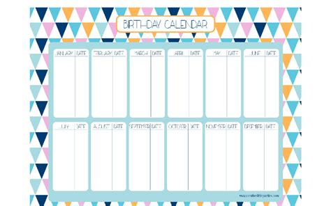 search results for birthday calendar free printable
