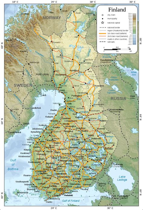 geographical map of geography of finland