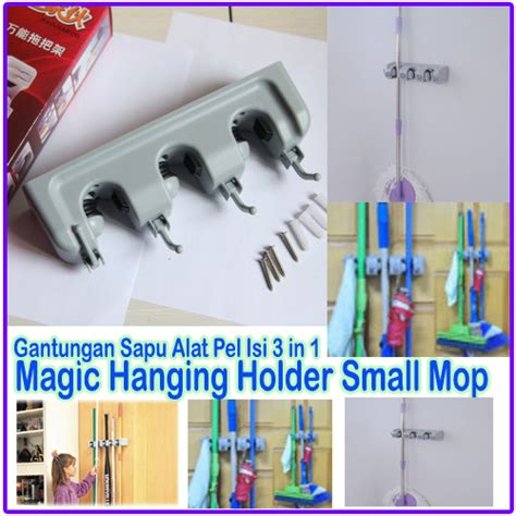 Magic Hanging Mop Holder Tempat Untuk Gantungan Sapu Pel Payung Dll small mop holder gantungan sapu alat pel dengan hook magic hanger home elevenia