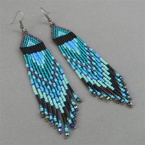 fringe beaded earrings turquoise and purple fringe beaded earrings