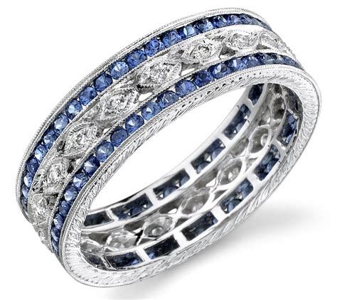 2018 popular s wedding bands with sapphires