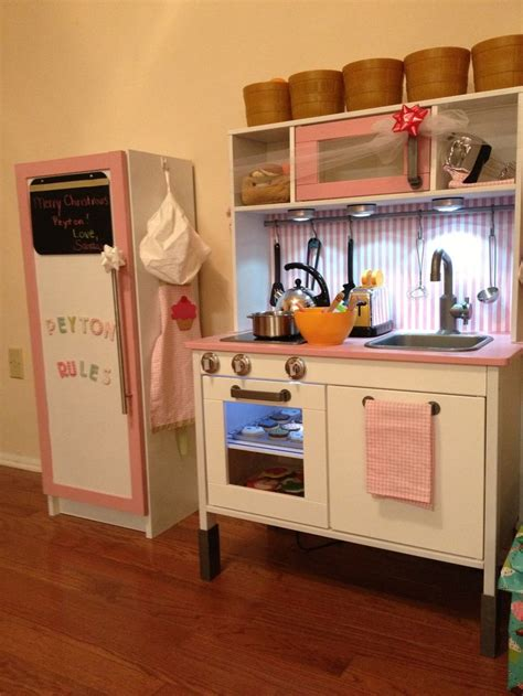 Ikea Duktig Play Kitchen Fridge Made From Ikea Billy Pretend Kitchen Furniture
