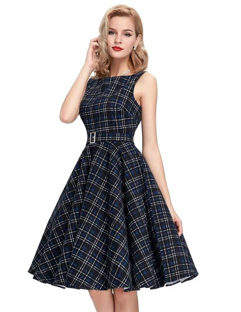 swing dress tartan audrey belted blue tartan swing dress 1950sglam