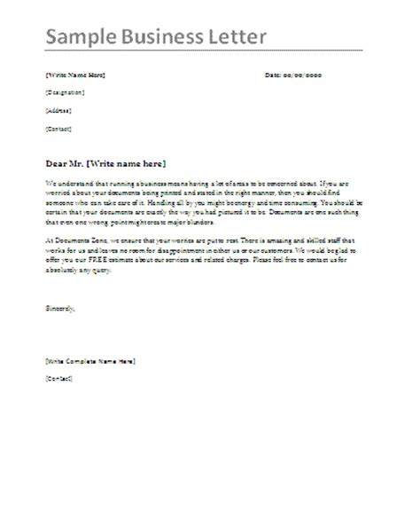 business letter format samples best letter sample free