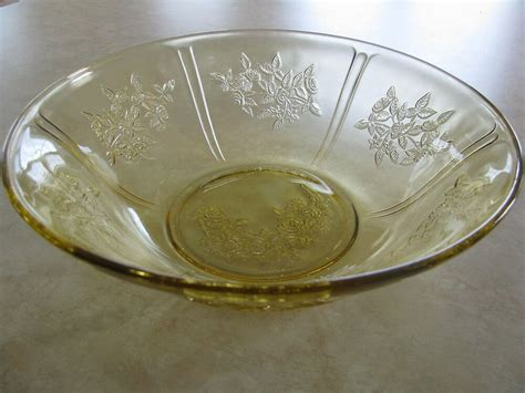 My M Ms Glass Bowl vintage federal glass co cabbage yellow