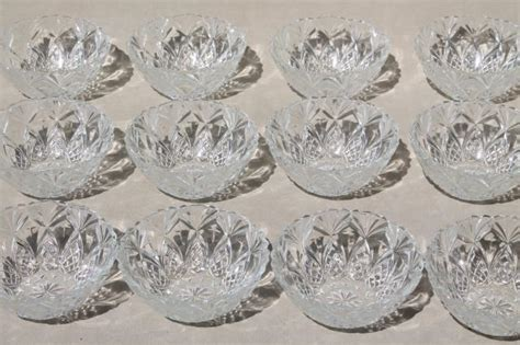 crystal clear french glass pineapple fan pattern fruit bowls set   dishes marked france