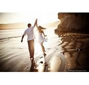 Couple Seaside Dance Holding Hand Sunset Romantic