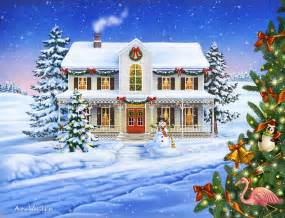 Lakeside Cottage House Plans christmas cottage mixed media by anne wertheim