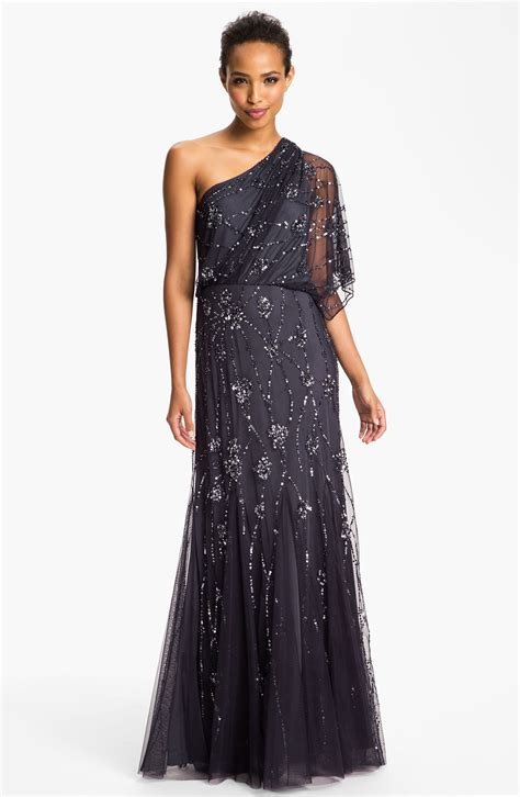 beaded gown papell beaded one shoulder gown in gray charcoal