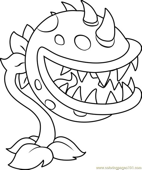 chomper coloring page free plants vs zombies coloring