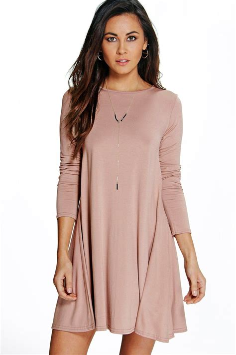 long swing dress april scoop neck long sleeve swing dress at boohoo com