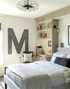 Industrial vintage teen boy bedroom with a gorgeous comfy bed and a