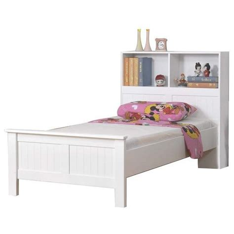 single bed frame with bookcase in white buy