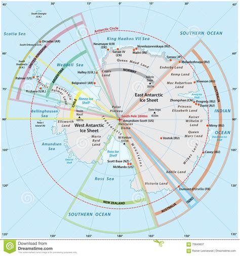 antarctica political map political map of antarctica stock illustration image