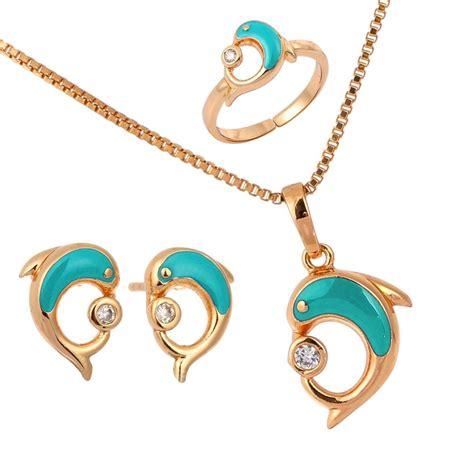 18k gold filled blue dolphin earrings ring pendant