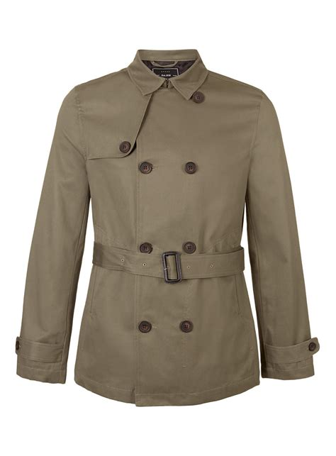 Cropped Trench Coats by Topman Khaki Breasted Cropped Trench Coat In Green