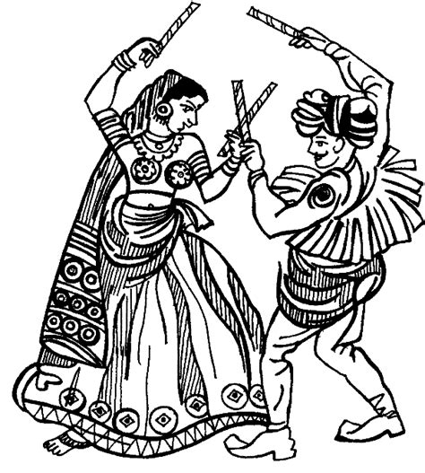 coloring pages festivals india home raas garba
