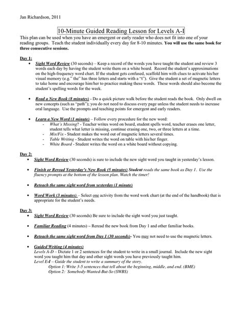 Pre A Lesson Plan In Word And Pdf Formats Page 7 Of 11 Jan Richardson Lesson Plan Template