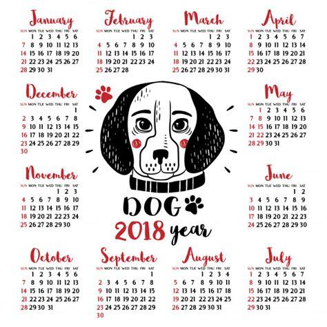Calend Do Ano De 2018 Calendario 2018 Con Perro A 241 O Nuevo Chino Descargar