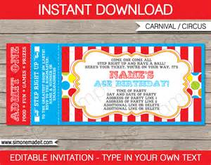 Carnival Themed Invitations Templates Free by Carnival Ticket Invitation Template Carnival Or Circus