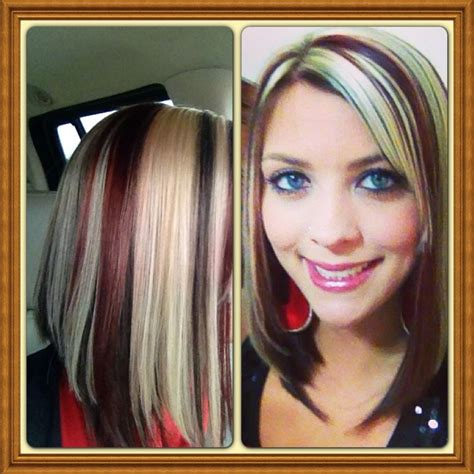 blonde highlight red on bottom long bob chocolate brown bottom red blonde top my