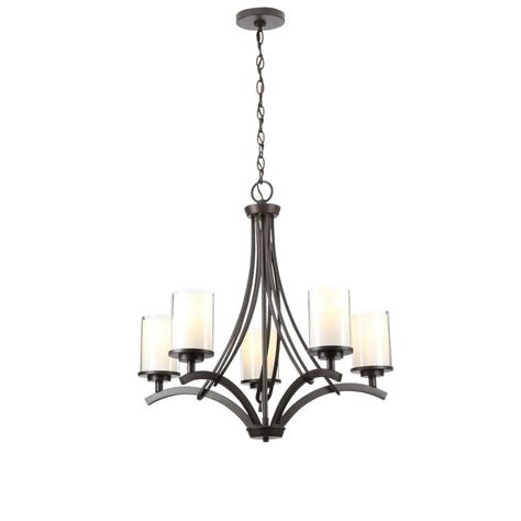 hton bay 5 light rubbed bronze ceiling chandelier