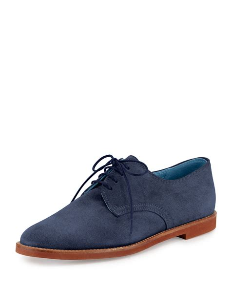 oxford shoes blue manolo blahnik bukka joe suede oxford shoes in blue lyst