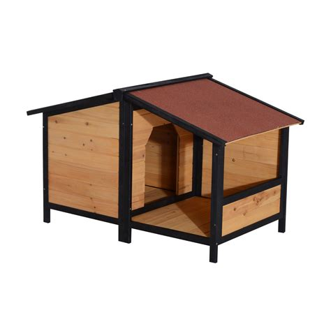 dog house clearance pawhut small elevated dog house with opening roof pets clearance