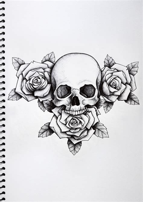 skull tattoo drawings skull and roses nick davis artist 224