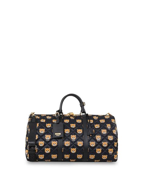 Quilted Travel Bag by Moschino Quilted Teddy Travel Bag In Brown Lyst