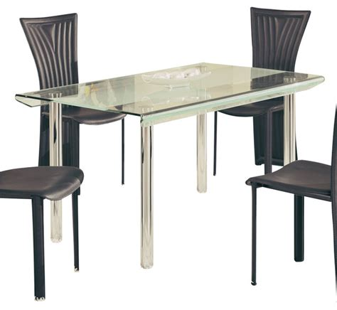 Traditional Glass Dining Table Global Furniture Usa A818ldt Rectangular Glass Dining Table With Chrome Legs Traditional