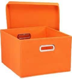 Decorative Storage Containers Collapsible Storage Box Orange Set Of 2 In Decorative