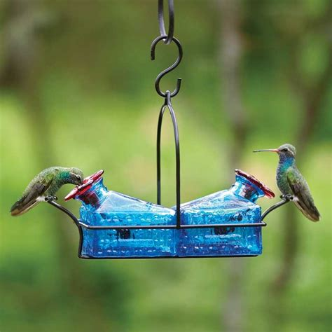 basketweave 2 perch hummingbird feeder blue