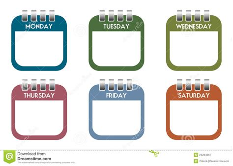 Day By Day Calendar Calendar Week Clipart