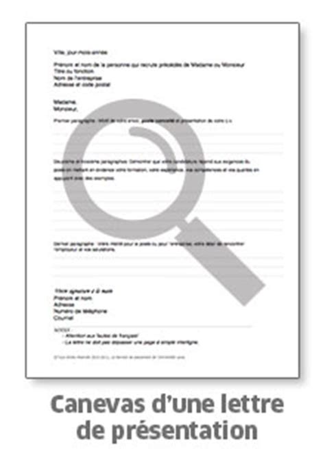 informations sur la lettre de pr 233 sentation le service de