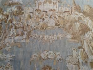 toile colonial print linen fabric sky blue drapery fabric