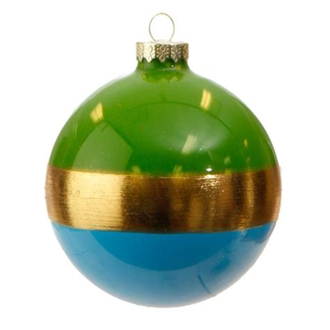 new raz 4 quot blue and gold striped christmas glass ball