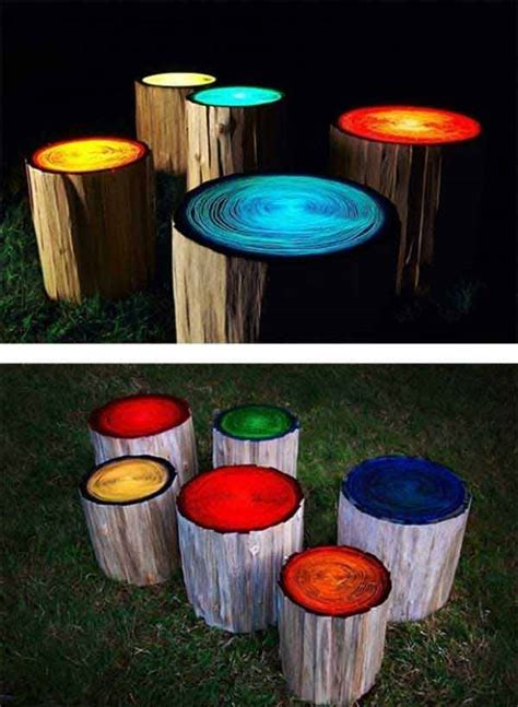 glow in the paint outdoor ideas 35 diy log ideas take rustic decor to your home