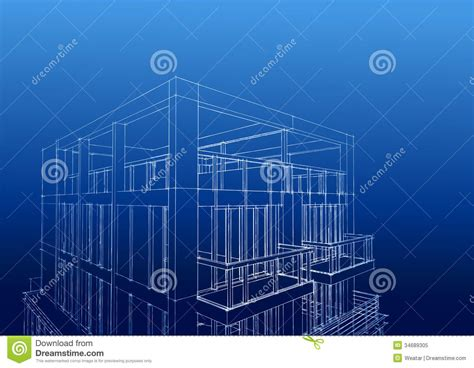construction blueprint wireframe of contemporary 3 story housedownload a comp