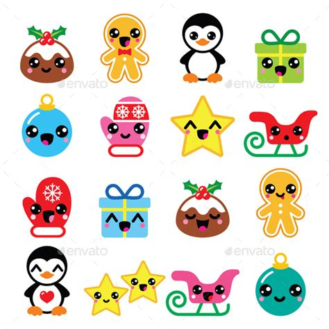 Squishy Monas kawaii icons set by redkoala graphicriver