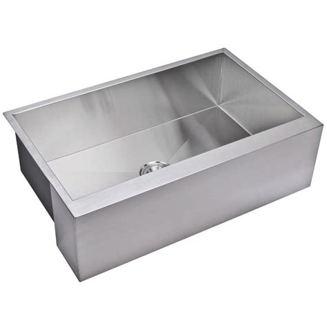 Apron Kitchen Sink Water Creation Farmhouse Apron Front Zero Radius Stainless Steel 33 In Single Basin Kitchen